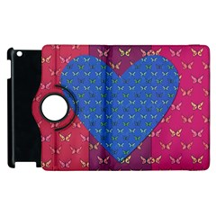 Butterfly Heart Pattern Apple Ipad 2 Flip 360 Case by Simbadda