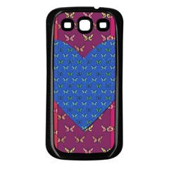Butterfly Heart Pattern Samsung Galaxy S3 Back Case (black) by Simbadda