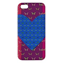 Butterfly Heart Pattern Iphone 5s/ Se Premium Hardshell Case by Simbadda