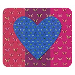 Butterfly Heart Pattern Double Sided Flano Blanket (small)  by Simbadda