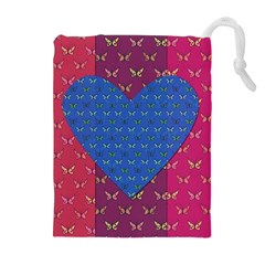 Butterfly Heart Pattern Drawstring Pouches (extra Large) by Simbadda