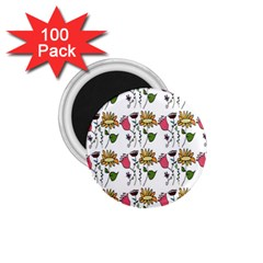 Handmade Pattern With Crazy Flowers 1 75  Magnets (100 Pack)  by Simbadda