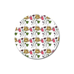 Handmade Pattern With Crazy Flowers Magnet 3  (round) by Simbadda