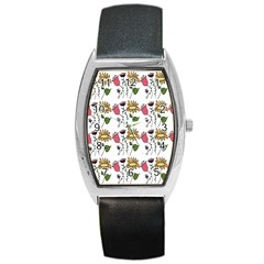Handmade Pattern With Crazy Flowers Barrel Style Metal Watch