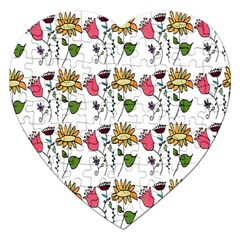 Handmade Pattern With Crazy Flowers Jigsaw Puzzle (heart) by Simbadda