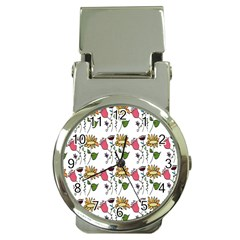 Handmade Pattern With Crazy Flowers Money Clip Watches by Simbadda