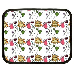 Handmade Pattern With Crazy Flowers Netbook Case (xl)  by Simbadda