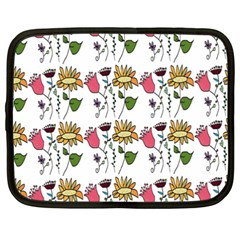 Handmade Pattern With Crazy Flowers Netbook Case (xxl)  by Simbadda