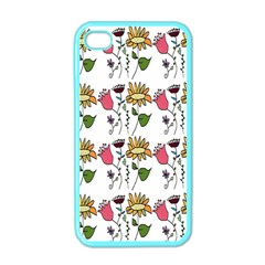 Handmade Pattern With Crazy Flowers Apple Iphone 4 Case (color) by Simbadda