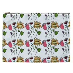 Handmade Pattern With Crazy Flowers Cosmetic Bag (xxl)  by Simbadda
