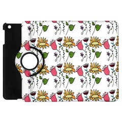 Handmade Pattern With Crazy Flowers Apple Ipad Mini Flip 360 Case by Simbadda