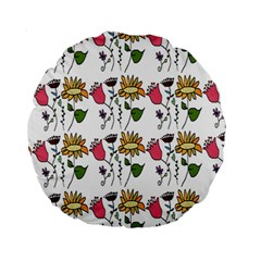 Handmade Pattern With Crazy Flowers Standard 15  Premium Round Cushions by Simbadda