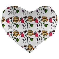 Handmade Pattern With Crazy Flowers Large 19  Premium Heart Shape Cushions by Simbadda