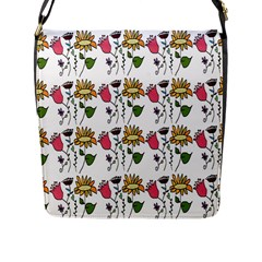 Handmade Pattern With Crazy Flowers Flap Messenger Bag (l)  by Simbadda