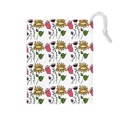 Handmade Pattern With Crazy Flowers Drawstring Pouches (large)  by Simbadda