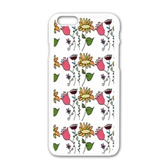 Handmade Pattern With Crazy Flowers Apple Iphone 6/6s White Enamel Case by Simbadda