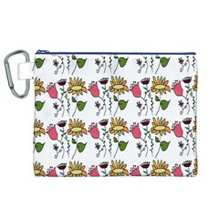 Handmade Pattern With Crazy Flowers Canvas Cosmetic Bag (xl) by Simbadda