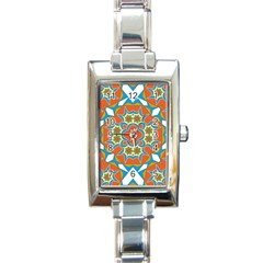 Digital Computer Graphic Geometric Kaleidoscope Rectangle Italian Charm Watch by Simbadda