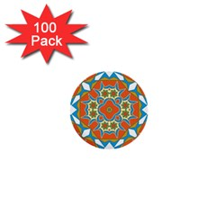 Digital Computer Graphic Geometric Kaleidoscope 1  Mini Buttons (100 Pack)  by Simbadda