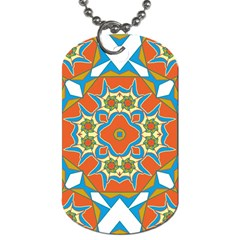 Digital Computer Graphic Geometric Kaleidoscope Dog Tag (two Sides) by Simbadda