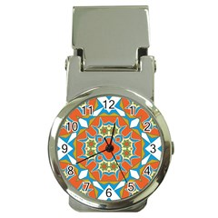 Digital Computer Graphic Geometric Kaleidoscope Money Clip Watches by Simbadda