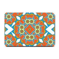 Digital Computer Graphic Geometric Kaleidoscope Small Doormat  by Simbadda