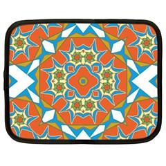 Digital Computer Graphic Geometric Kaleidoscope Netbook Case (xl)  by Simbadda