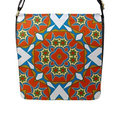 Digital Computer Graphic Geometric Kaleidoscope Flap Messenger Bag (l)  by Simbadda