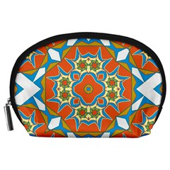 Digital Computer Graphic Geometric Kaleidoscope Accessory Pouches (large)  by Simbadda