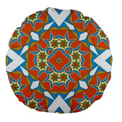 Digital Computer Graphic Geometric Kaleidoscope Large 18  Premium Flano Round Cushions by Simbadda
