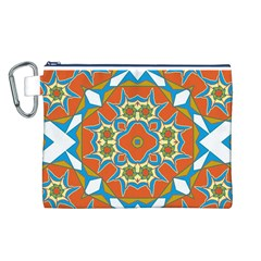 Digital Computer Graphic Geometric Kaleidoscope Canvas Cosmetic Bag (l) by Simbadda