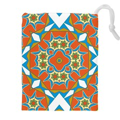 Digital Computer Graphic Geometric Kaleidoscope Drawstring Pouches (xxl) by Simbadda