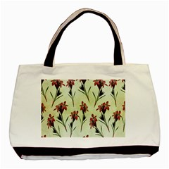 Vintage Style Seamless Floral Wallpaper Pattern Background Basic Tote Bag by Simbadda
