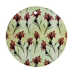 Vintage Style Seamless Floral Wallpaper Pattern Background Round Ornament (two Sides) by Simbadda
