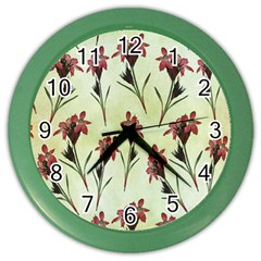 Vintage Style Seamless Floral Wallpaper Pattern Background Color Wall Clocks by Simbadda
