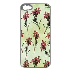 Vintage Style Seamless Floral Wallpaper Pattern Background Apple Iphone 5 Case (silver) by Simbadda