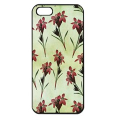 Vintage Style Seamless Floral Wallpaper Pattern Background Apple Iphone 5 Seamless Case (black) by Simbadda