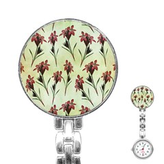 Vintage Style Seamless Floral Wallpaper Pattern Background Stainless Steel Nurses Watch