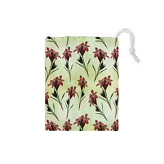 Vintage Style Seamless Floral Wallpaper Pattern Background Drawstring Pouches (small)  by Simbadda