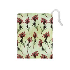 Vintage Style Seamless Floral Wallpaper Pattern Background Drawstring Pouches (medium)