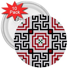 Vintage Style Seamless Black, White And Red Tile Pattern Wallpaper Background 3  Buttons (10 Pack)  by Simbadda