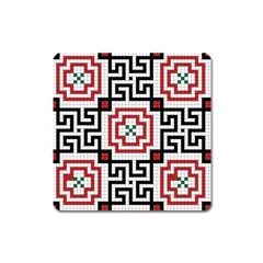 Vintage Style Seamless Black, White And Red Tile Pattern Wallpaper Background Square Magnet by Simbadda