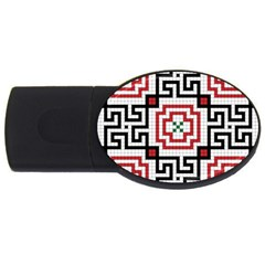 Vintage Style Seamless Black, White And Red Tile Pattern Wallpaper Background Usb Flash Drive Oval (2 Gb) by Simbadda
