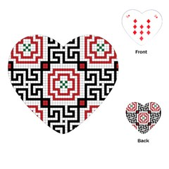 Vintage Style Seamless Black, White And Red Tile Pattern Wallpaper Background Playing Cards (heart)  by Simbadda