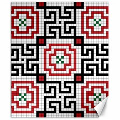 Vintage Style Seamless Black, White And Red Tile Pattern Wallpaper Background Canvas 8  X 10  by Simbadda
