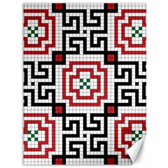Vintage Style Seamless Black, White And Red Tile Pattern Wallpaper Background Canvas 36  X 48   by Simbadda