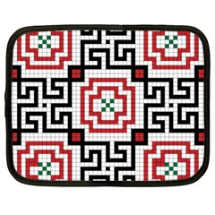Vintage Style Seamless Black, White And Red Tile Pattern Wallpaper Background Netbook Case (large) by Simbadda