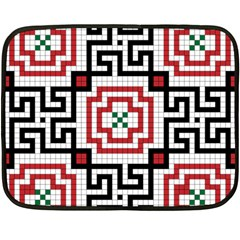 Vintage Style Seamless Black, White And Red Tile Pattern Wallpaper Background Fleece Blanket (mini) by Simbadda