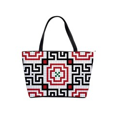 Vintage Style Seamless Black, White And Red Tile Pattern Wallpaper Background Shoulder Handbags by Simbadda