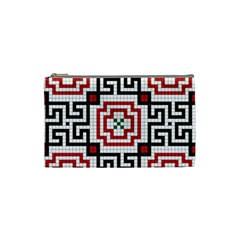 Vintage Style Seamless Black, White And Red Tile Pattern Wallpaper Background Cosmetic Bag (small)  by Simbadda